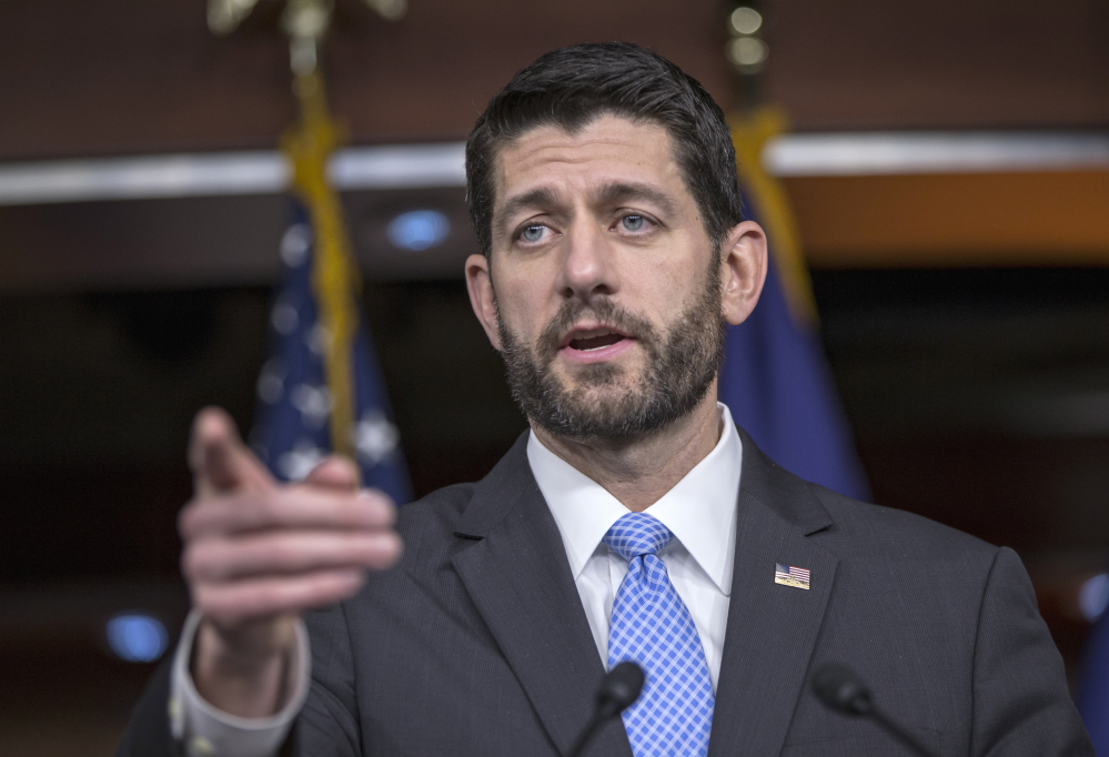 House Speaker Paul Ryan of Wisconsin holds an end-of-the-year news conference on Capitol Hill in Washington on Thursday as Congress moves toward passage of a $1.1 trillion omnibus spending bill.