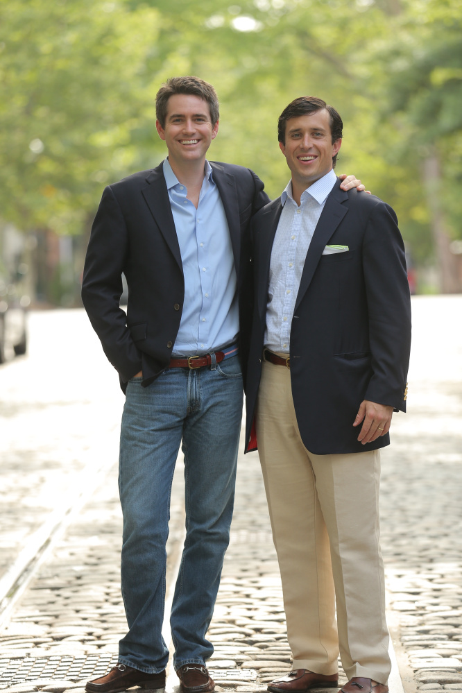 Co-owners Peter Smathers Carter, left, and Austin Branson started laying the groundwork for their company while students at Bowdoin College.