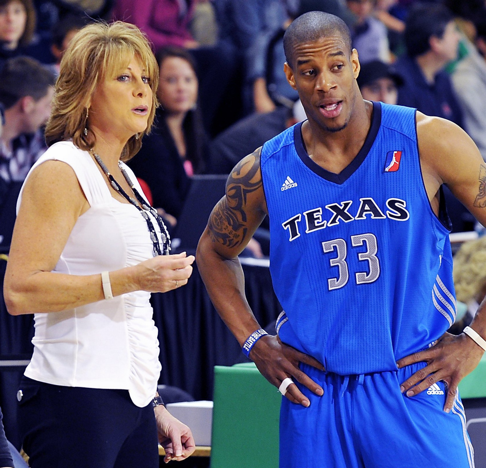 One of Nancy Lieberman's qualifications for her role as an assistant with the Kings was a head coaching stint with the Texas Legends of the NBA D-League. She and former NBA player Antonio Daniels, right, even visited Portland in 2011 to play the Red Claws.