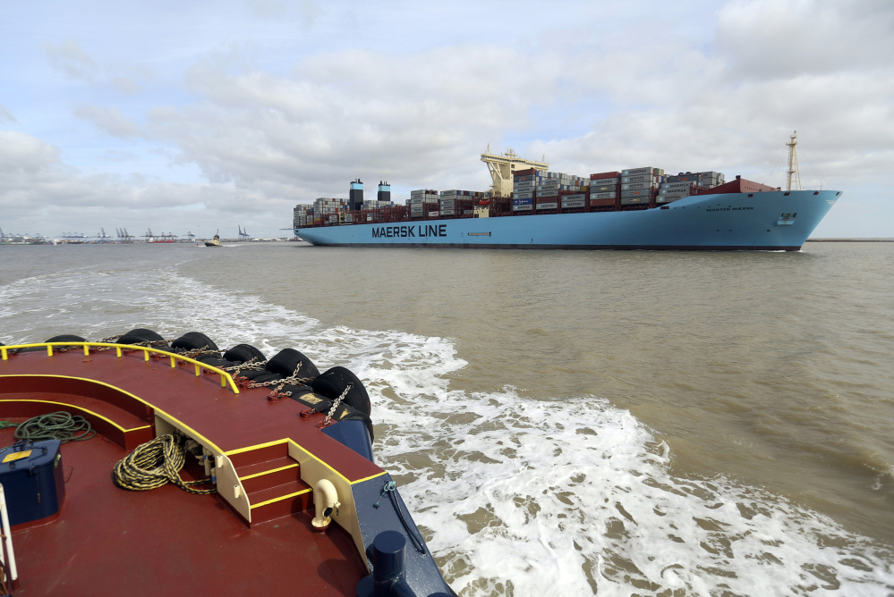 The Morten Maersk Triple-E Class container ship, operated by A.P. Moeller-Maersk, saves fuel as it travels more slowly than container ships did during boom years.
