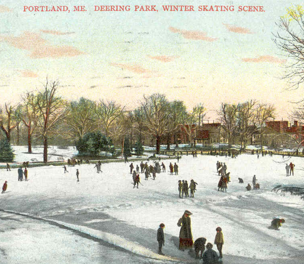 This postcard, mailed in 1909, shows skaters enjoying the frozen pond at Deering Oaks. The pond park was designed in 1879.