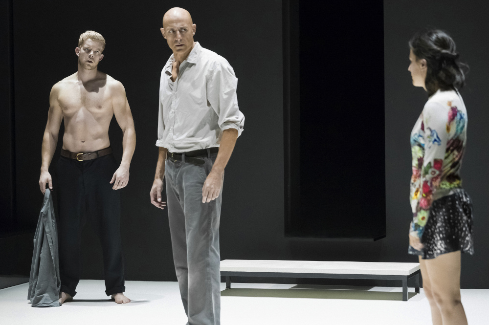 "Russell Tovey, left, Mark Strong and Phoebe Fox in ""A View From the Bridge."""