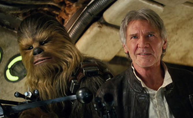 "Peter Mayhew plays Chewbacca and Harrison Ford is Han Solo in ""Star Wars: The Force Awakens."""