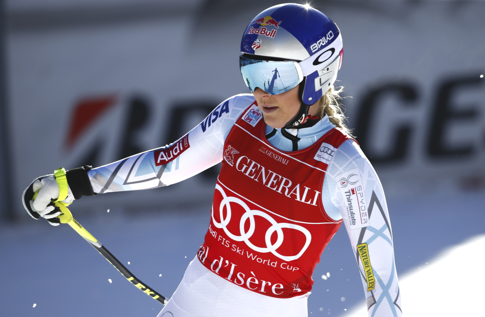 Lindsey Vonn gets to the finish area after skiing off course during Saturday's women's World Cup downhill in Val D'Isere, France.
