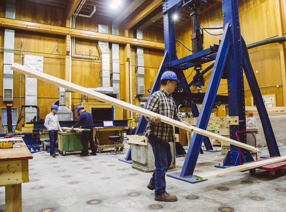 Maine Advanced Structures and Composites Center technician Jon Hill carries lumber from a Norway spruce to be tested at the University of Maine in Orono on Dec. 11, 2015. <em>Whitney Hayward/Staff Photographer</em>