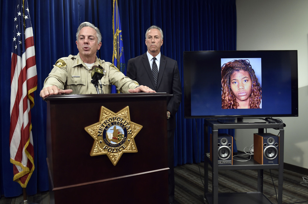 Clark County Sheriff Joe Lombardo, left, and Clark County District Attorney Steve Wolfson speak at a news conference Monday about a car that repeatedly plowed into crowds of people on a sidewalk in Las Vegas, killing one and injuring dozens.