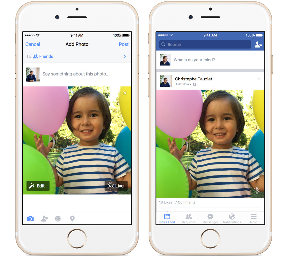 This image from Apple and Facebook shows the posting of an animated photo using Facebook's new app, left, and the viewing of it, right, on an iPhone. New iPhones come with the ability to turn stills into video, known as Live Photos.
