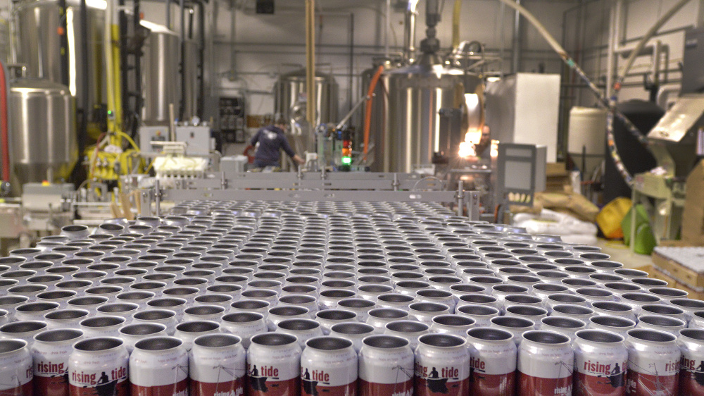 Cans are lined up for the conveyor belt during a canning run at Portland's Rising Tide Brewery on Monday. John Ewing/Staff Photographer