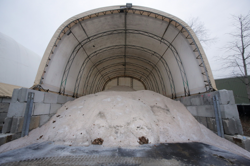The city of Portland's salt shed remains well-stocked in this snowless December, and the forecast calls for mild weather without snow through Christmas and beyond.