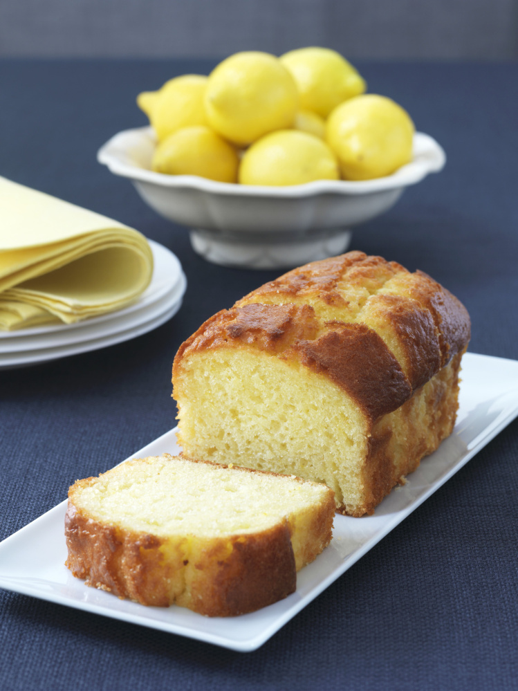 Sliced loaf of lemon pound cake