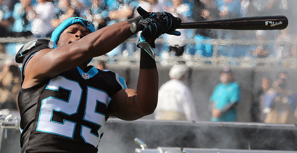 Carolina Panthers cornerback Bene Benwikere swings a bat – a motivational tool for the team – on the field before a home game against Atlanta on Dec. 13. The bat will be relegated to the locker room after a Panther was seen holding it while yelling at the Giants' Odell Beckham on Sunday.
