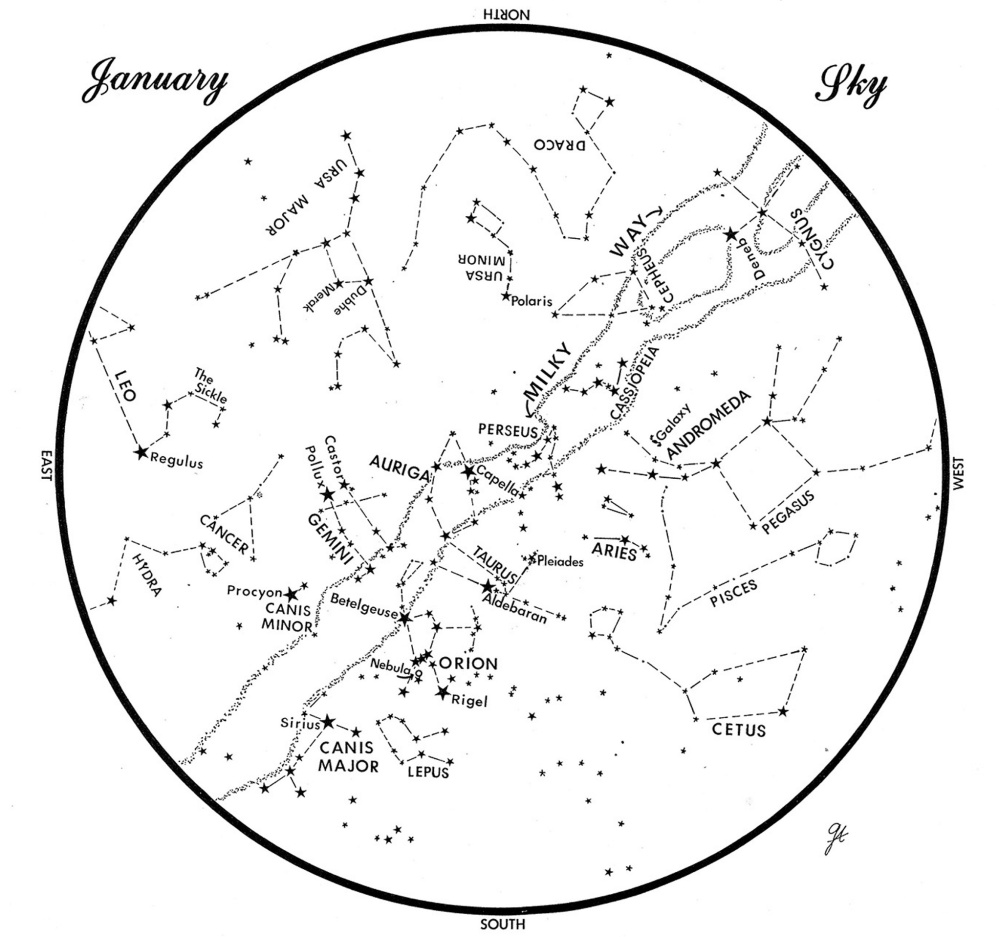 SKY GUIDE: This chart shows the sky as it appears over Maine in January. The stars are shown as they appear at 9:30 p.m. early in the month, 8:30 p.m. at midmonth and 7:30 p.m. at month's end. No planets are visible at chart times. To use the map, hold it vertically and turn it so that the direction you are facing is at the bottom.