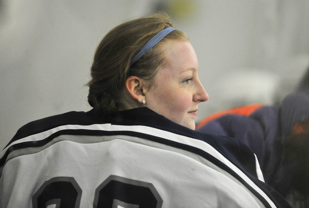 Goalie Miranda O'Shea has never played the position but jumped in because her team, Yarmouth/Freeport/Gray-New Gloucester, needed a goalie.