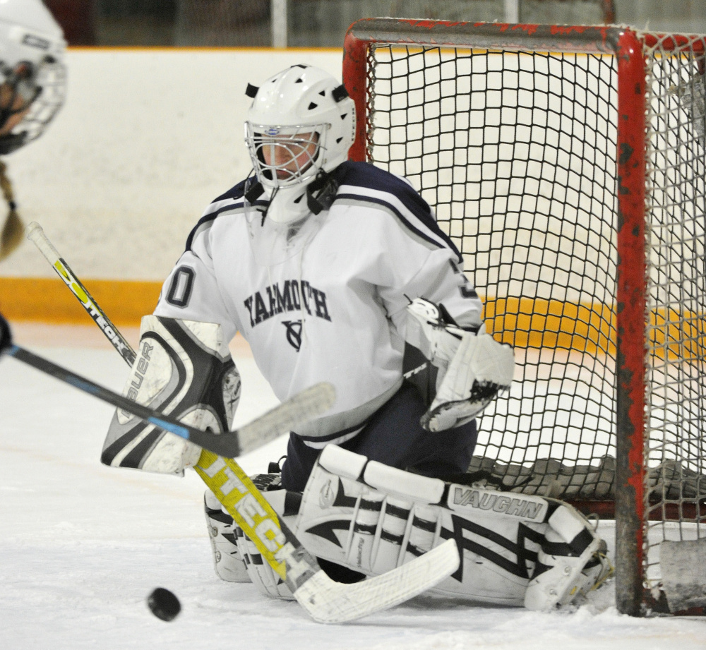 """Miranda O'Shea has the natural aggression needed by a hockey goalie. """"When she played basketball, she fouled out of every game,"""" says her mother. She's improving on the ice, game by game."""