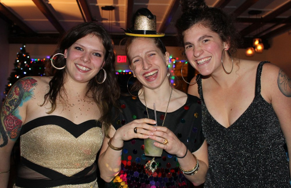 "Melissa ""Eva La Diva"" Michaud, left, Marnie ""Chickadee Wallop"" Williamson and Leah ""Cabbage Smash Kid"" Farber."