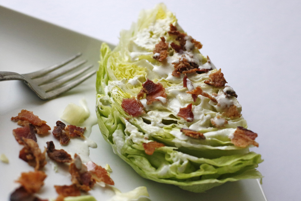 Buttermilk, Bacon Grease and Blue Cheese Dressing on iceberg lettuce.