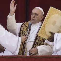 "Pope Francis delivers his ""Urbi et Orbi"" blessing from St. Peter's Basilica on Christmas Day."