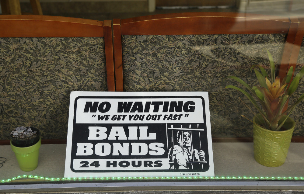 The neon-advertising bail bonding business could be threatened if a couple OF Harvard law graduates succeed in waging a legal war against the time-honored bail bond system that often has suspects paying 10 percent of the bail cost to a firm that will ensure the rest.