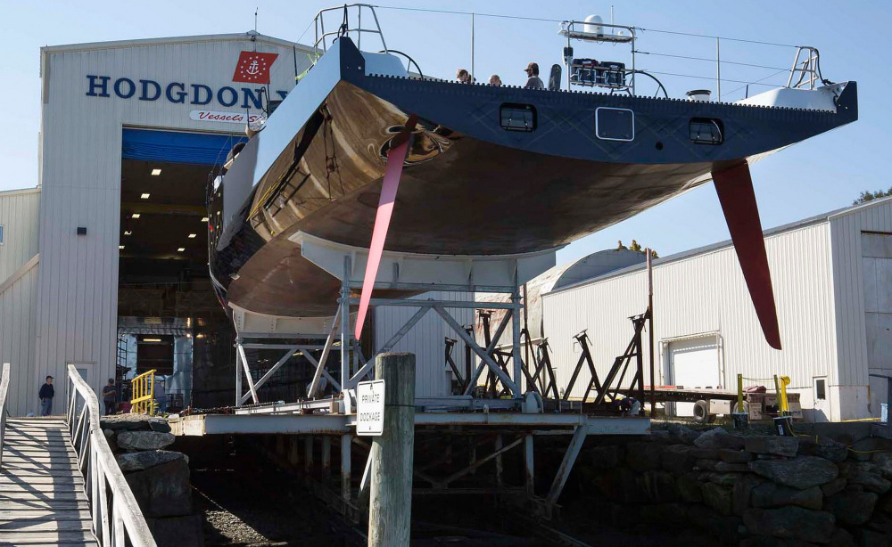 "The Comanche sits during construction in 2014 at Hodgdon Yachts, which has launched more than 400 vessels – about 150 of them ""world class"" – in its nearly 200-year history."