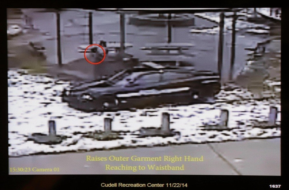 This photo taken from a surveillance video recorded Nov. 22, 2014, shows Cleveland police officers arriving at Cudell Park on a report of a man with a gun. Twelve-year-old Tamir Rice was fatally shot seconds later. Cuyahoga County prosecutor Tim McGinty announced Monday that a grand jury declined to indict the officer.
