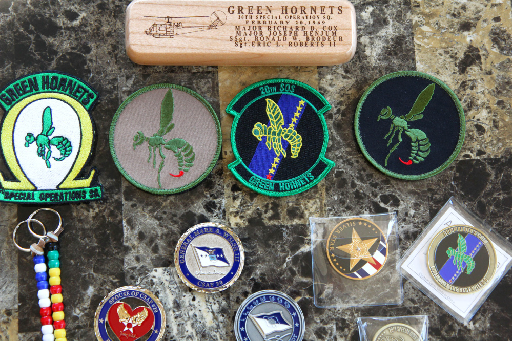 Squadron patches and challenge coins are a few mementos Vietnam veteran Ron Brodeur, 70, of Chelsea, has acquired since his time as a staff sergeant in the Air Force's 20th Special Operations Squadron known as the Green Hornets.
