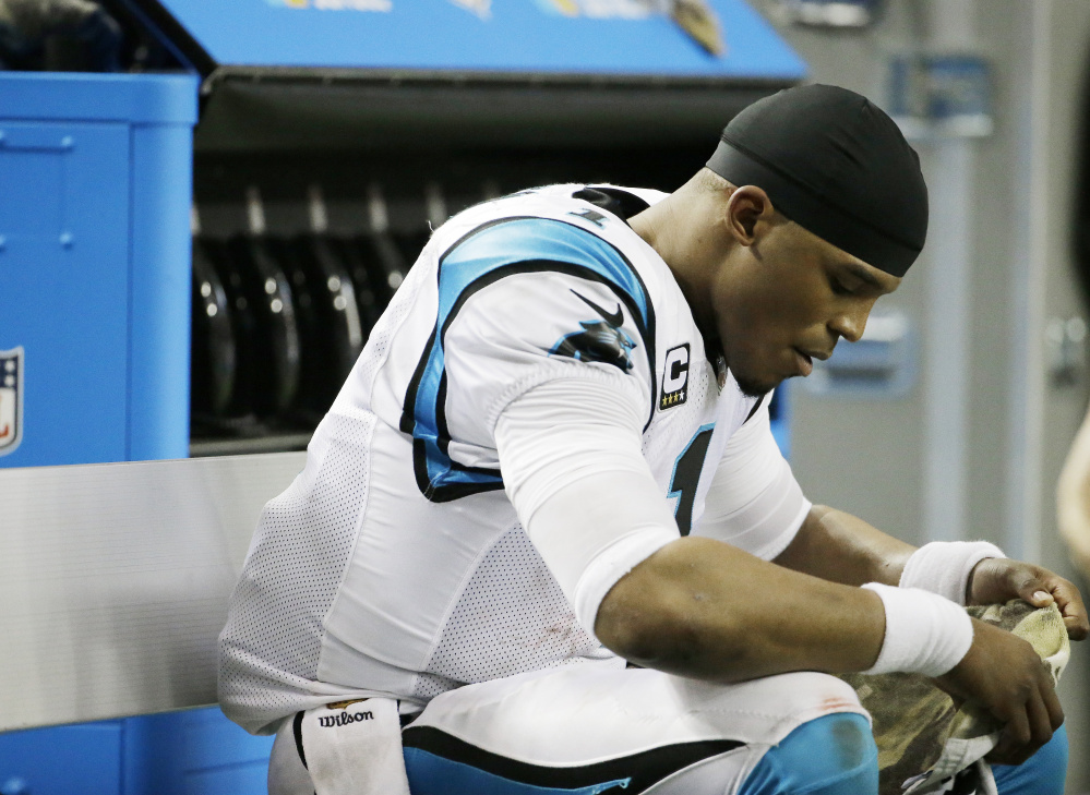 Carolina Panthers quarterback Cam Newton shouldered part of the blame for a 20-13 loss Sunday to the Atlanta Falcons – a loss that ended an undefeated season and punctured Carolina's aura of invincibility.