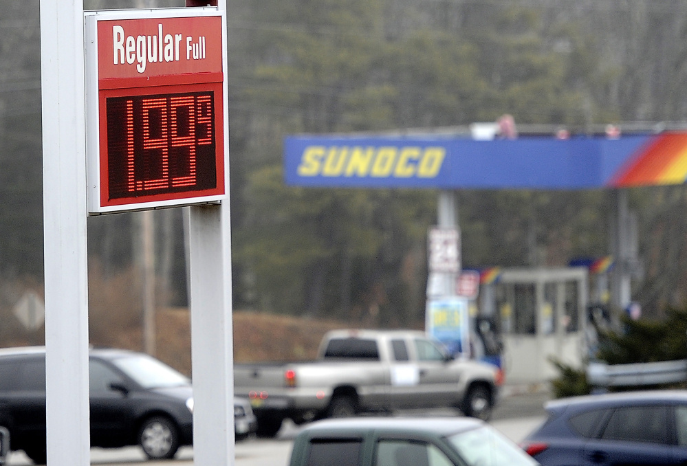 The price of gas has dropped to $1.99 at the Sunoco Gas Station in Buxton.