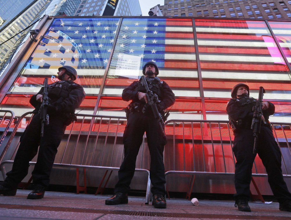 About 1 million people are expected to pack Times Square on New Year's Eve and they will be protected by nearly 6,000 police officers assigned to the festivities.