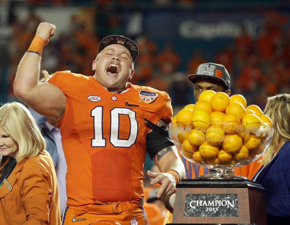 Clemson linebacker Ben Boulware cheers during the award presentation after his team beat Oklahoma 37-17 in the Orange Bowl, a national semifinal game. Boulware was named the game's defensive MVP.
