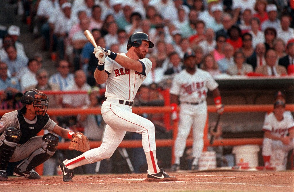 Boston's Wade Boggs smacks a first-inning  home run July 11, 1989 against National League pitcher Rick Reuschel in the All-Star game in Anaheim, Calif. Moments earlier, Reuschel delivered a homer to Kansas City's Bo Jackson. The Associated Press