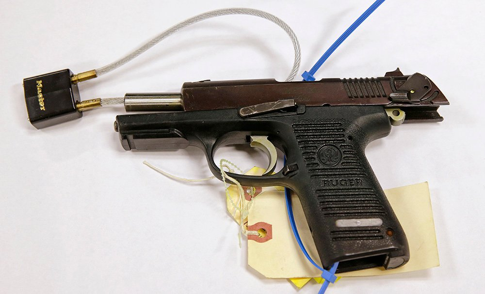 The Ruger pistol presented as evidence during the federal trial of Boston Marathon bomber Dzhokhar Tsarnaev. Authorities said the gun was used to kill MIT police officer Sean Collier. The Associated Press