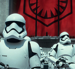 "This photo provided by Disney/Lucasfilm shows stormtroopers in a scene from the new film, ""Star Wars: The Force Awakens."" The movie releases in the U.S. on Dec. 18, 2015. (Film Frame/Lucasfilm via AP)"