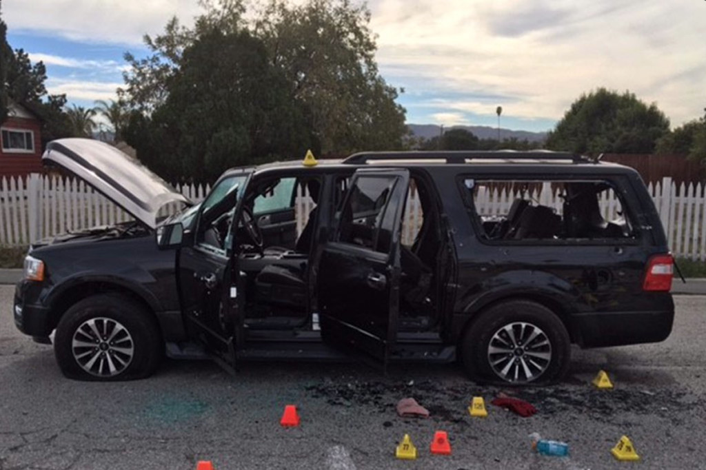 Syed Farook and Tashfeen Malik were in this SUV when they engaged police in a shootout Wednesday  in which they fired 76 rounds, while 23 officers fired about 380, police said. San Bernardino County Sheriff's Department via AP