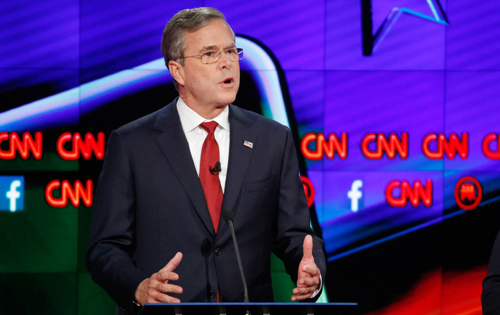 "Jeb Bush said Donald Trump is ""a chaos candidate and he'd be a chaos president."" The Associated Press"