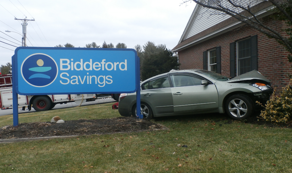 Richard Smith's car narrowly missed the Biddeford Savings Bank on Main Street in Waterboro. Courtesy York County Sheriff's Office