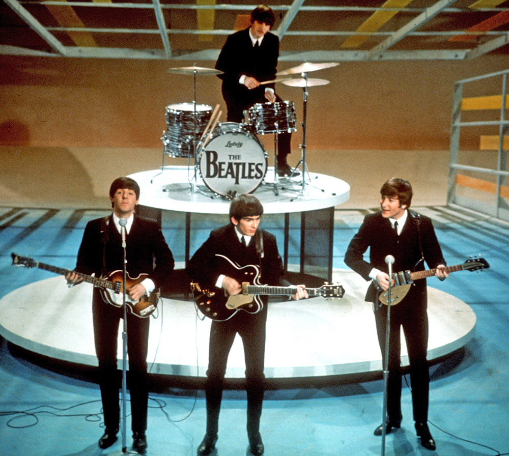 "The Beatles perform on the CBS ""Ed Sullivan Show"" in this Feb. 9, 1964, photo. The Associated Press"