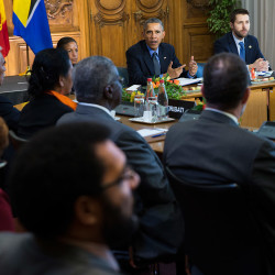 President Obama speaks during a meeting with heads of state from small island nations most at risk from the harmful effects of climate change, in Paris on Tuesday.