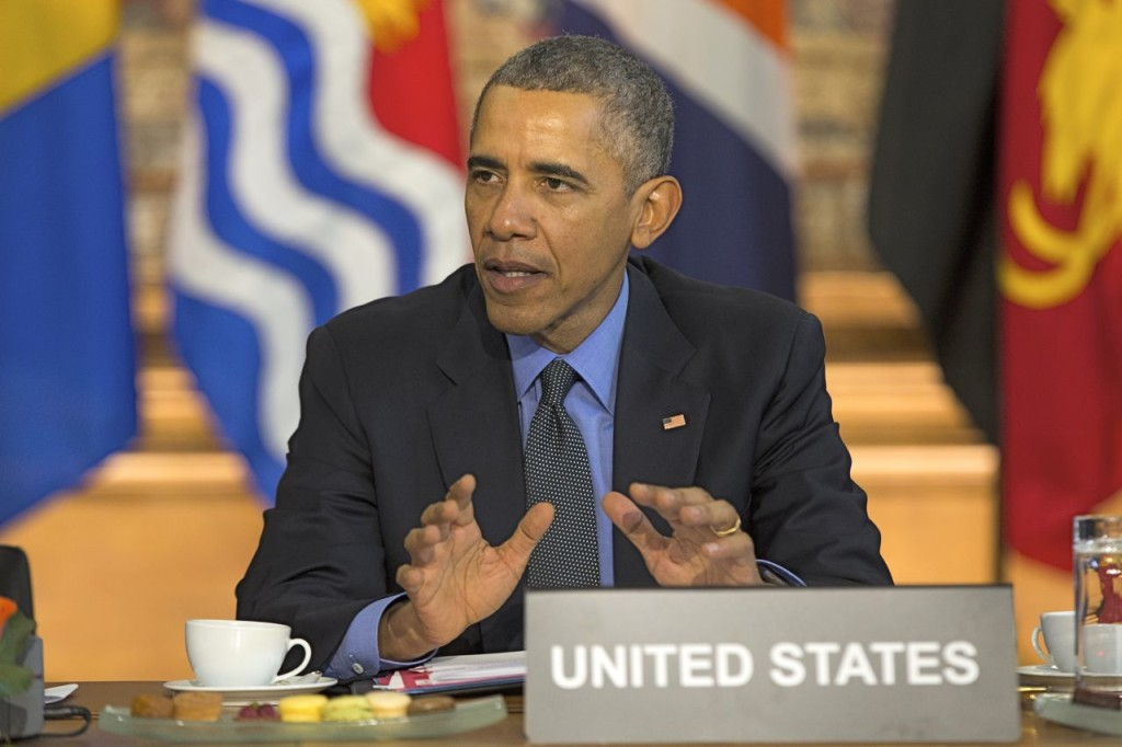 President Obama speaks Tuesday in Paris during a meeting with heads of state from small island nations most at risk from the harmful effects of climate change. The Associated Press