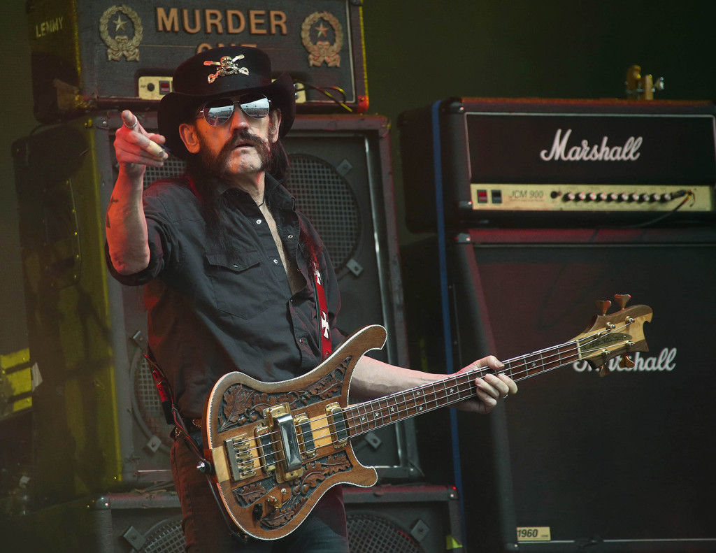 Motorhead bassist Lemmy Kilmister performs June 26 at the Glastonbury Music Festival in England. Kilmister, the Motorhead frontman whose outsized persona made him a hero for generations of hard rockers and metal-heads, died Monday. Photo by Joel Ryan/Invision/AP