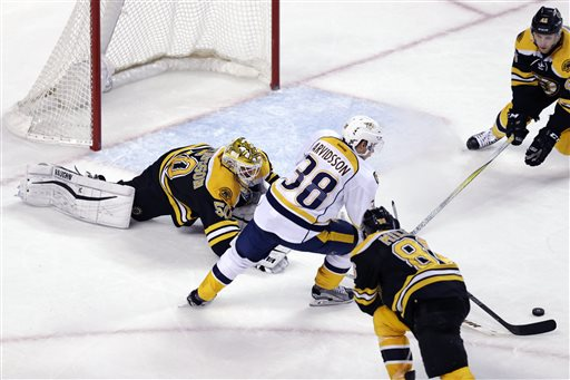 Nashville Predators right wing Viktor Arvidsson (38) eludes Boston Bruins goalie Jonas Gustavsson (50) as he sets up his goal during the third period. The Predators defeated the Bruins 3-2. At bottom right is Bruins defenseman Kevan Miller and at top right is Bruins defenseman Joe Morrow. (AP Photo/Charles Krupa)