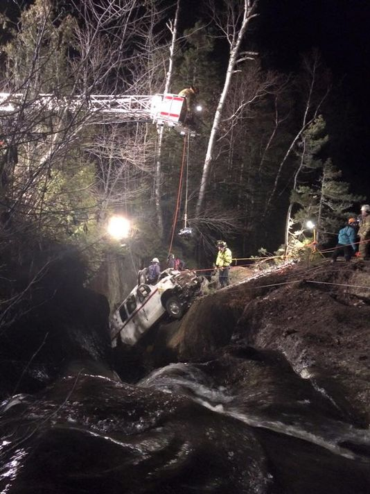 A rescue team in Rangeley Thursday rescued the driver of a commercial truck that veered off Route 4 and landed on a rock ledge. The gorge below the vehicle dropped about 60 feet to a pool of water.