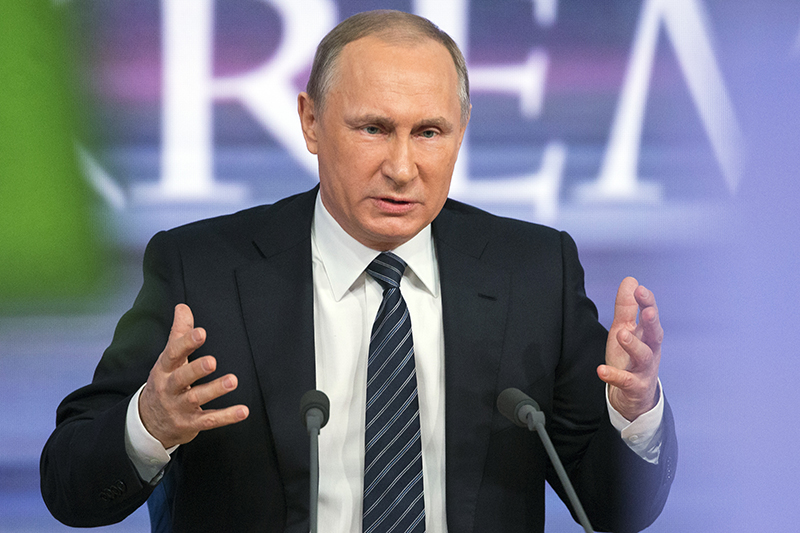 Russian President Vladimir Putin speaks during his annual news conference in Moscow on Thursday.