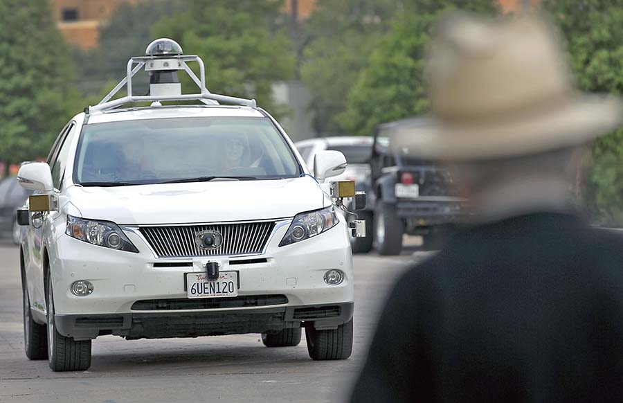 A Google self-driving SUV plies the highways in Austin, Texas, where state law does not prohibit cars without pedals and a steering wheel. Ralph Barrera/Austin American-Statesman via AP