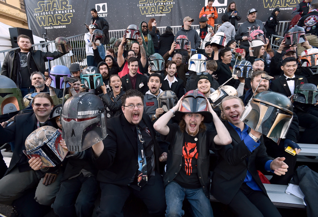 "Fans cheer in the stands before Monday's world premiere of ""Star Wars: The Force Awakens"" at the TCL Chinese Theatre in Los Angeles.  Jordan Strauss/Invision/AP"