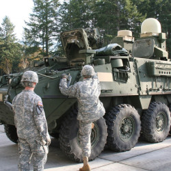 This prototype Stryker was integrated with Warfighter Information Network-Tactical Point of Presence capability.