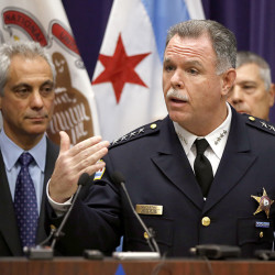 Chicago Mayor Rahm Emanuel, left, and Police Superintendent Garry McCarthy appear at a news conference Nov. 24 in Chicago, announcing first-degree murder charges against police Officer Jason Van Dyke in the 2014 death of 17-year-old Laquan McDonald. The Associated Press