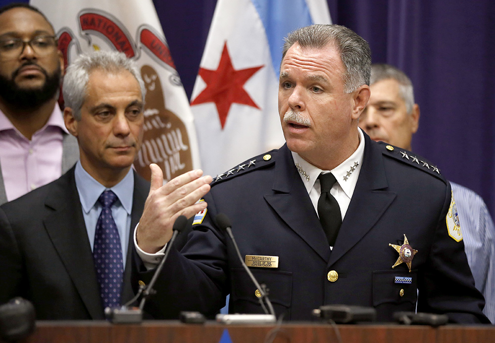 Chicago Mayor Rahm Emanuel, left, and Police Superintendent Garry McCarthy appear at a news conference last Tuesday, announcing first-degree murder charges against police officer Jason Van Dyke in the Oct. 20, 2014, death of 17-year-old Laquan McDonald. The Associated Press