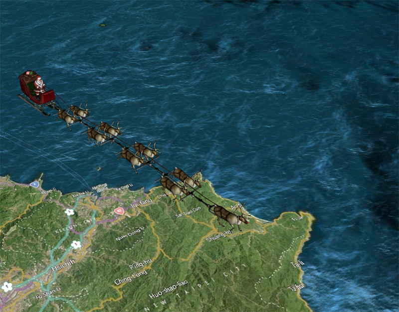 Santa was located over Taiwan about 9:50 a.m. (EST) on December 24 (however, on the other side of the International Date Line, it was Christmas day.)