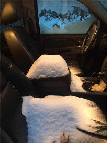 This photograph of the snow in Deputy Chief Jason Moen's pickup truck was posted on the Auburn Police Department's Facebook page Tuesday.