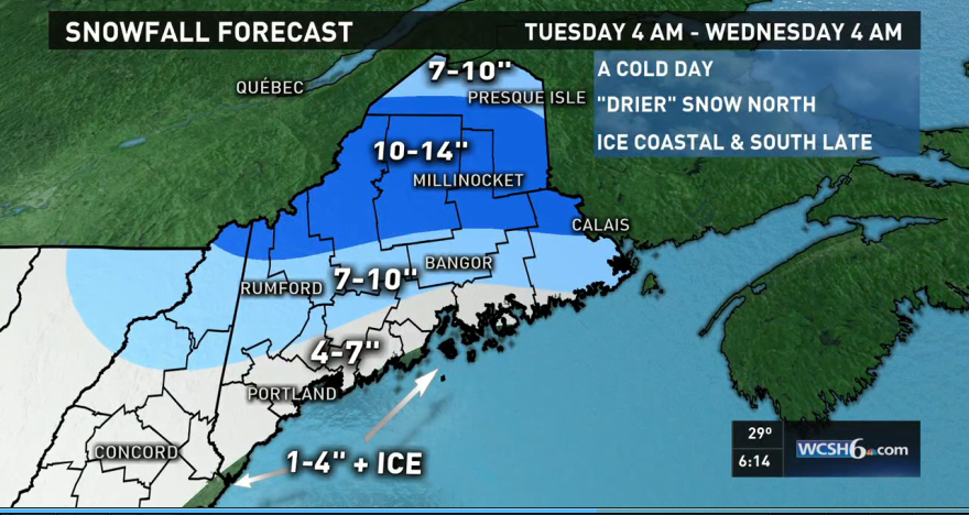 Much of Maine is expected to see snowfall from a winter storm Tuesday. Map courtesy of WCSH-TV